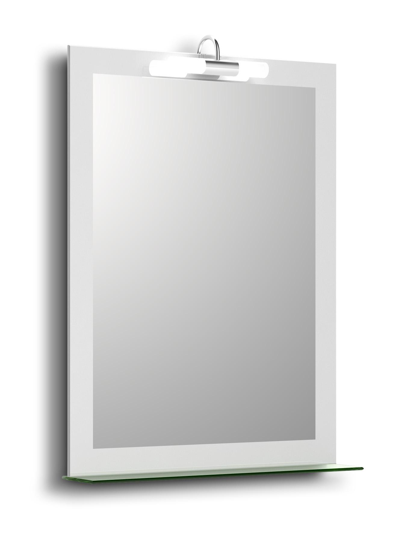 Oglinda baie cu polita si lampa halogen Alviela 80x60 cm imagine