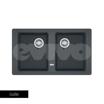Chiuvetă bucătărie 2 cuve Fragranit Franke BASIS BFG 620-86_grafite