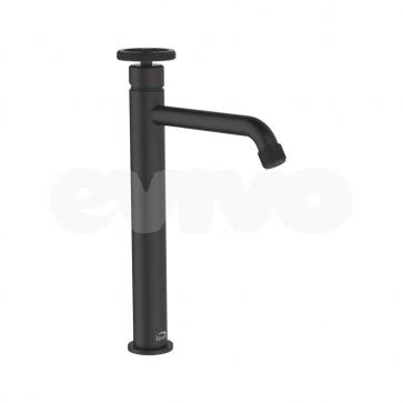 Baterie lavoar inalta Laveo MURO BAU_72ND, negru satinat, design industrial