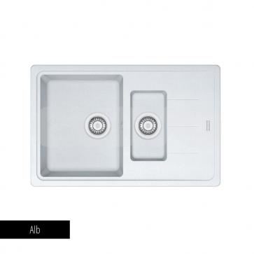 Chiuvetă bucătărie 1 cuvă mare, 1 cuvă mică și picurător Fragranit Franke BASIS BFG 651-78_alb