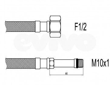 "Racord flexibil baterii F1/2""xM10 cu capat lung 35cm Techman WBS23 (Racorduri)"