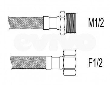 """Racord flexibil apa i-e, 1/2""""x1/2"""", 30 cm Techman PWS21"""