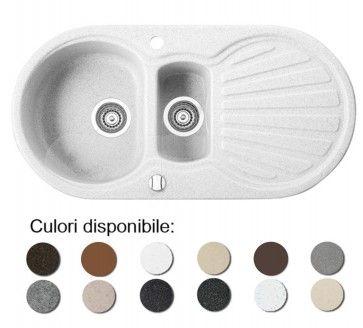 Chiuveta bucatarie granit compozit anticalcar 1,5 cuve si picurator KORUND