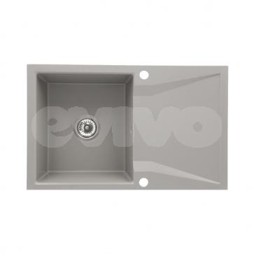 Chiuveta bucatarie granit compozit 1 cuva si picurator, reversibila CasaBlanca NERA GRI_dr