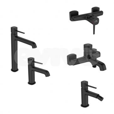 Set Baterii sanitare baie Laveo POLLA, negru satinat