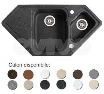 Chiuveta bucatarie granit compozit anticalcar trapezoidala 1,5 cuve si picurator TORRO