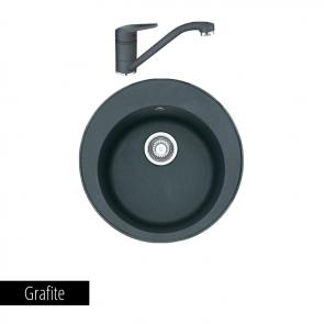Pachet Franke Chiuvetă bucătărie ROTONDO ROG 610 + Baterie chiuvetă bucătărie Novara Plus Grafite