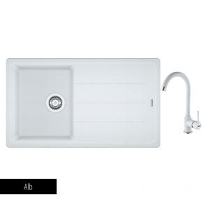 Pachet Franke Chiuvetă bucătărie BASIS BFG 611-86 + Baterie chiuvetă bucătărie Pola Alb