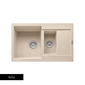 Chiuvetă bucătărie 1 cuvă mare, 1 cuvă mică și 1 picurător Fragranit Franke MARIS MRG 651-78_avena