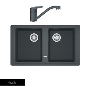 Pachet Chiuvetă bucătărie BASIS BFG 620-86 + Baterie chiuvetă bucătărie Novara Plus Grafite