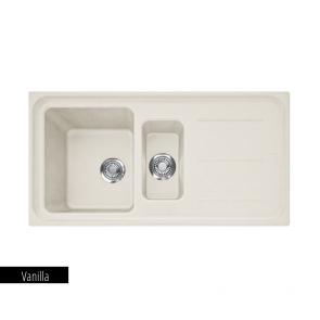 Chiuvetă bucătărie 1 cuvă mare, 1 cuvă mică și picurător Fragranit Franke IMPACT IMG 651