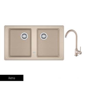 Pachet Franke Chiuvetă bucătărie BASIS BFG 620-86 + Baterie chiuvetă bucătărie Pola Avena