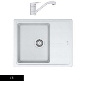 Pachet Chiuvetă bucătărie BASIS BFG 611 + Baterie chiuvetă bucătărie Novara Plus_alb