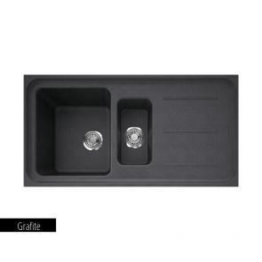 Chiuvetă bucătărie 1 cuvă mare, 1 cuvă mică și picurător Fragranit Franke IMPACT IMG 651_grafite