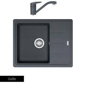 Pachet Chiuvetă bucătărie BASIS BFG 611 + Baterie chiuvetă bucătărie Novara Plus_grafite