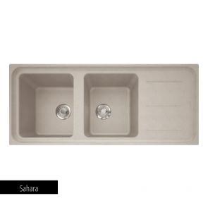Chiuvetă bucătărie 2 cuve și picurător Fragranit Franke IMPACT IMG 621_sahara