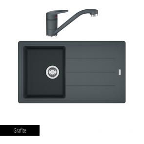 Pachet Franke Chiuvetă bucătărie BASIS BFG 611-86 + Baterie chiuvetă bucătărie Novara Plus Grafite