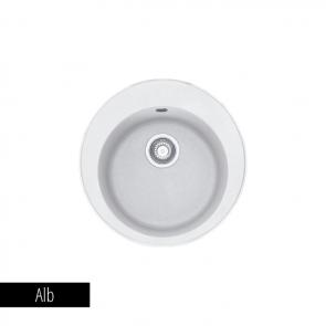 Pachet Franke Chiuveta bucatarie rotunda Fragranite ROTONDO ROG 610 + Baterie chiuveta bucatarie Pola + Dozator detergent Alb