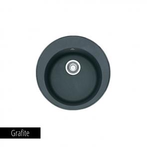 Pachet Franke Chiuveta bucatarie rotunda Fragranite ROTONDO ROG 610 + Baterie chiuveta bucatarie Novara Plus Grafite