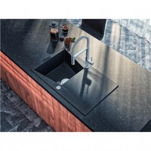 Chiuveta bucatarie granit compozit 1 cuva si picurator Laveo GRENADA, negru