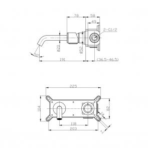 Baterie lavoar cu montaj incastrat Laveo PRETTO, grafit periat