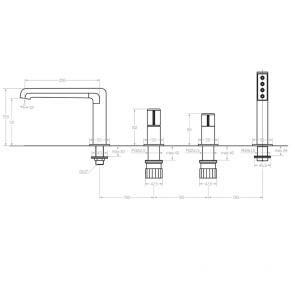 Baterie cada monocomanda cu 4 gauri Laveo PRETTO, grafit periat