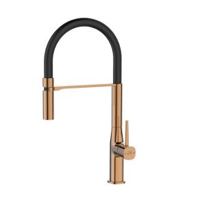 Baterie chiuveta bucatarie cu pipa flexibila Laveo POLLA BAP_878D, negru-auriu