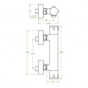 Baterie dus cu termostat Laveo TERMICO BAT-04TD