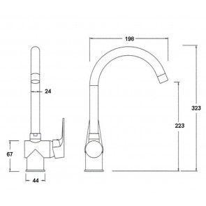 Baterie chiuveta de bucatarie CasaBlanca LETE BQX668D granit alb