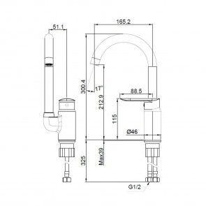 Baterie chiuveta de bucatarie gat de lebada CasaBlanca LINEA BLN4A