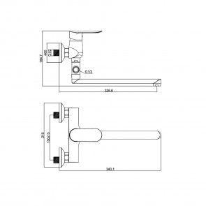 Baterie cada cu teava lunga (30cm), rotativa CasaBlanca LINEA BLN1A