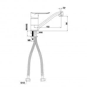 Baterie sanitara lavoar CasaBlanca LINEA BLN2A, teava medie (15cm), rotativa