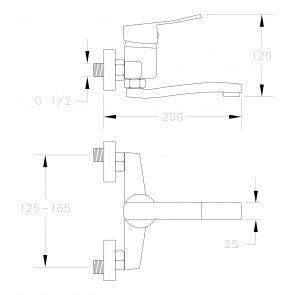 Baterie chiuveta de bucatarie teava medie (12cm) CasaBlanca MADERA BMD3