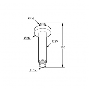 Braț de duș vertical KLUDI A-QA DN15 150 mm