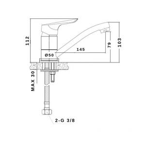 Baterie lavoar CasaBlanca SIENA BSN2A, teava medie, rotativa