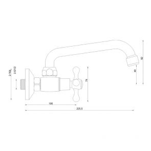 Baterie lavoar cu teava medie (15cm) CasaBlanca STILO BTI3