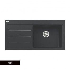 Chiuvetă bucătărie Fragranit Franke MYTHOS FUSION MTF 611, 1 cuvă cu picurător stânga, negru + 2 accesorii