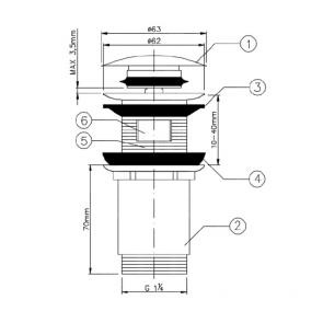 Ventil lavoar baie cu sistem click-clack Laveo PRETTO, grafit periat