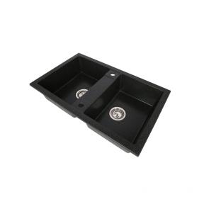 Set Chiuveta granit 2 cuve CasaBlanca DUO NEGRU + Baterie bucatarie granit BLACK4H