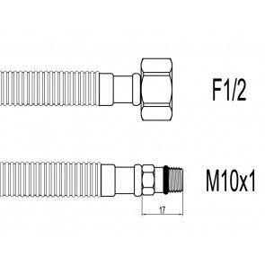 "Schita Racord flexibil din Inox gofrat baterii F1/2""xM10 cu capat scurt 40cm Techman GBS25"