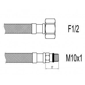 "Racord flexibil baterii M10xF1/2"" cu capat scurt 35cm Techman WBS21"