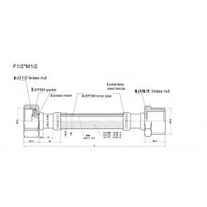 Racord flexibil apa i-e, M1/2
