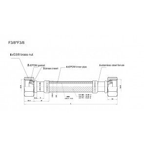 Racord flexibil apa i-i, F3/8