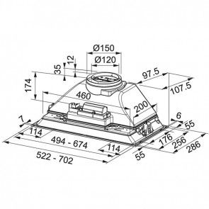 Hota incorporabila Franke FBI 525 XS HCS, Inox Satinat, 52 cm