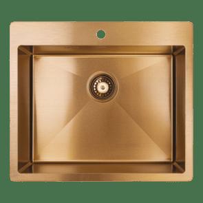 Chiuveta bucatarie inox 1 cuva Laveo Marmara cu sifon inclus, Cupru