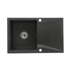 Chiuveta bucatarie granit compozit 1 cuva si picurator, reversibila CasaBlanca NERA NEGRU_dr