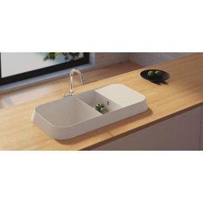 Chiuvetă bucătărie granit compozit anticalcar 1,5 cuve și picurător HighRise OPAL / OFELIA
