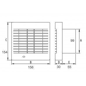 Ventilator casnic tavan/perete Dospel Polo 4 100 AZ - cu inchidere automata