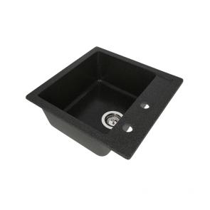Set Chiuveta bucatarie granit patrata CasaBlanca QUADRO NEGRU+ Baterie bucatarie granit BLACK4H