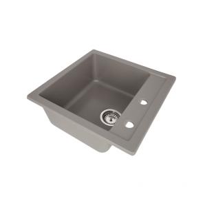 Set Chiuveta bucatarie granit patrata CasaBlanca QUADRO GRI + Baterie bucatarie GREY4H